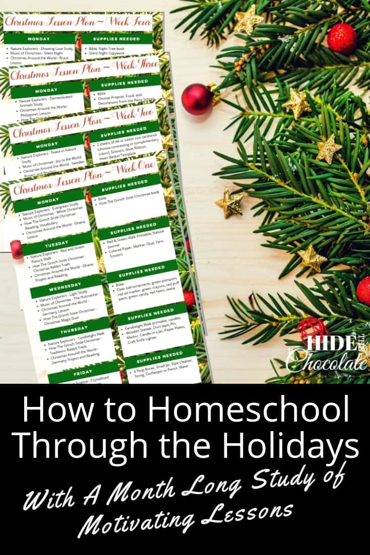 How to Homeschool Through the Holidays With A Month Long Study of Motivating Lessons PIN