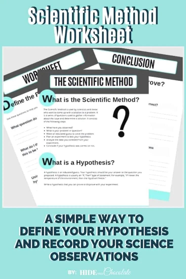 Scientific Method Worksheet ~ Recording Your Science Adventures