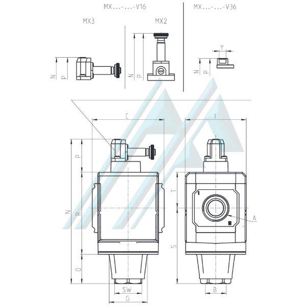 Válvula de interceptación 3/2 vias MX