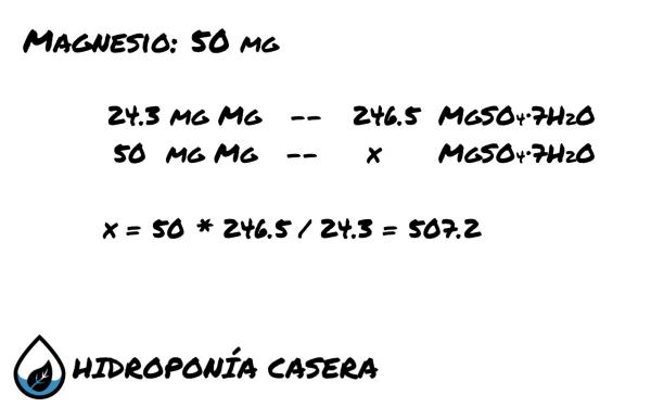 magnesio sulfato de magnesio, calculo hidroponia