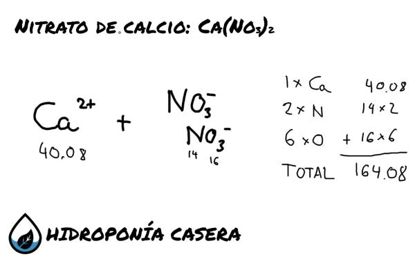 peso del nitrato de calcio, calculo de nutrientes hidroponicos
