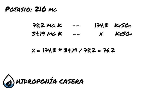 potasio sulfato de potasio, calculo hidroponico