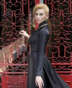 Black Ao Dai With Skirt