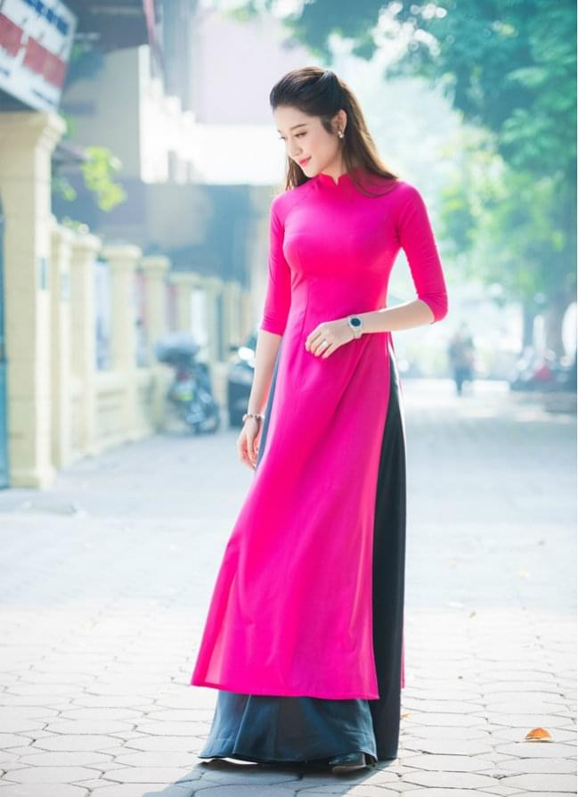 modern ao dai designs deep pink dress black skirt
