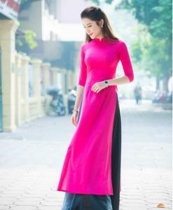 modern ao dai designs deep pink dress