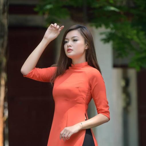 Orange, Black Double Layers, Ao Dai Vietnam Custom Made