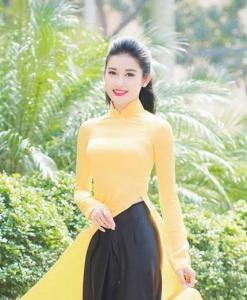 Yellow Ao Dai Vietnam Custom Made With Skirt