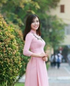 Vietnam Ao Dai Pink Silk Floral Neck Decoration