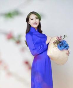 Thai Tuan Blue Navy Silk Ao Dai Vietnam