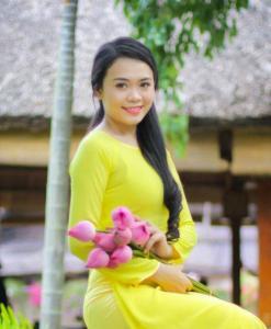 Ao Dai Vietnamese Dress Yellow Canary Chiffon