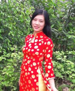 Brocade Ao Dai Vietnam Red Yellow Polka Dot