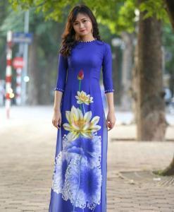 Ao Dai Modern Vietnam Royal Blue 3D 4