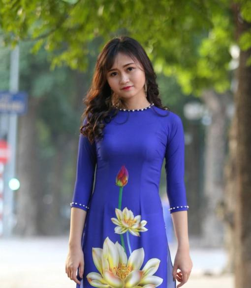 Ao Dai Modern Vietnam Royal Blue Floral 3D