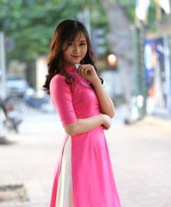 Ao Dai Cach Tan Pink Silk