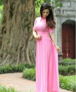 Ao Dai Viet Nam Pink Chiffon3