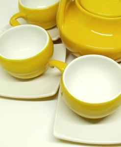 Bat Trang Handmade Tea Set Yellow White Plain Glaze