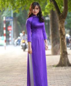 Blue White Ao Dai Vietnam Custom Made 2