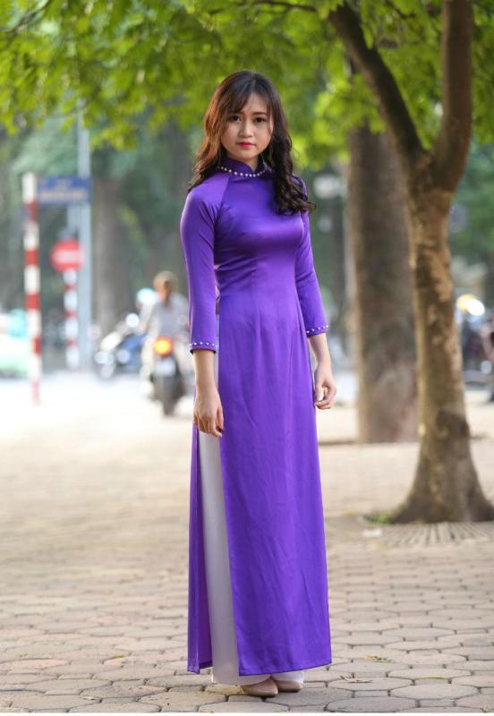 Blue White Ao Dai Vietnam Custom Made 2