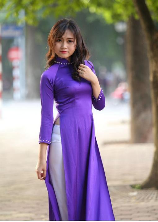 Blue White Ao Dai Vietnam Custom Made 4