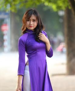 Blue White Ao Dai Vietnam Custom Made