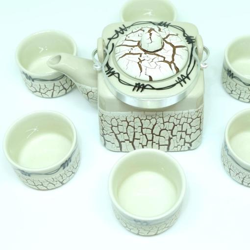 Handmade Bat Trang Pottery Tea Set Crack Glaze 4