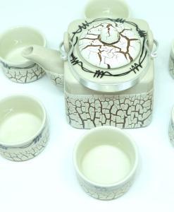 Handmade Bat Trang Pottery Tea Set Crack Glaze 4