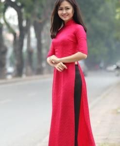 Natural Silkworm Ao Dai Custom Made 2