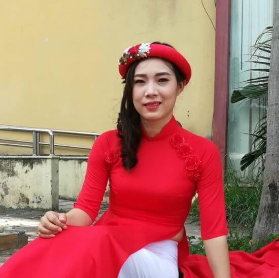 Red Women Head Scarf Traditional Vietnam Pinner 3