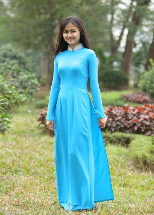 Turquoise Silk Ao Dai Vietnam 3