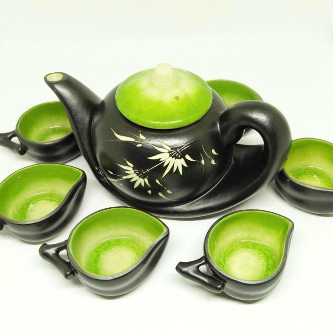 Vietnam Handmade Tea Set Bat Trang Leaf Green Glaze 2