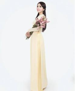 Yellow Ivory Chiffon Ao Dai Vietnam 2