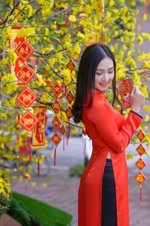 Orange Red Ao Dai Vietnam Custom Made 2