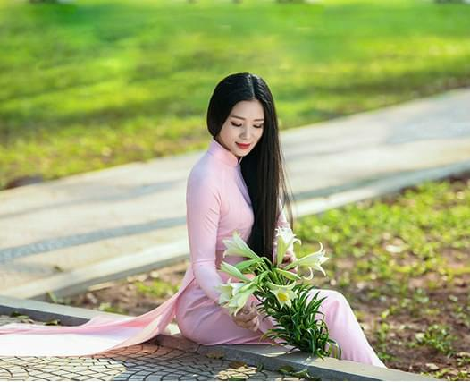 Carnationpink chiffon Ao Dai Viet Nam 4
