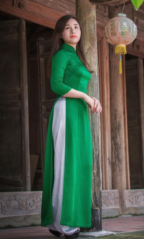 Light Green Ao Dai Viet Nam Tailor Made White Pant