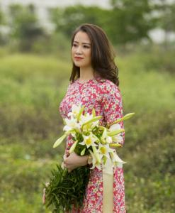 Small Red Floral Ao Dai Vietnam