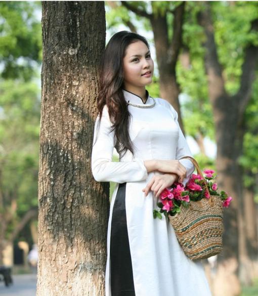 Ao Dai Vietnam White Silk