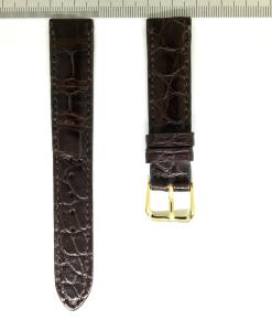 Crocodile Wristwatch Strap 18mm Chocolate Color