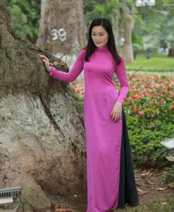 Vietnam Ao Dai Classical Pink Silk 3