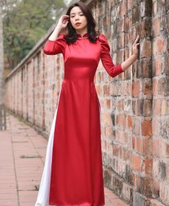 épaule plissée rouge Ao Dai 1