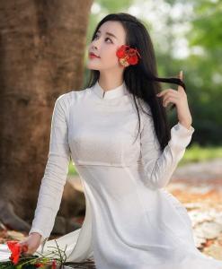 Tailandés Tuan brocado blanco Ao Dai
