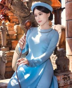 Azul brumoso Ao Dai Vietnam 3