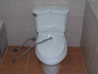 waterslang naast de Thais wc
