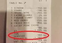 Service charge in Thailand