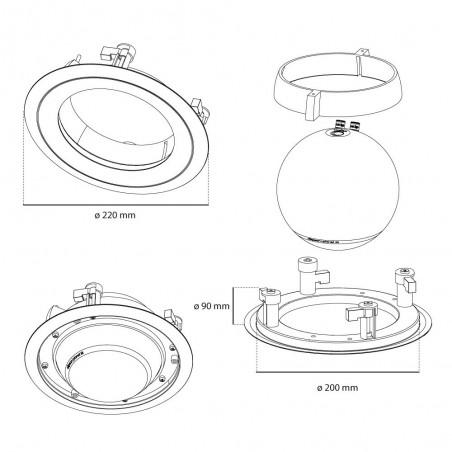 Elipson Planet M : Support enceinte encastrable pour plafond