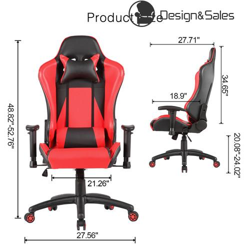desk chair high lowes folding racing style back ergonomic swivel office gaming red