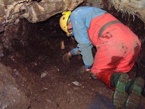 Martin excavating in Bone Passage