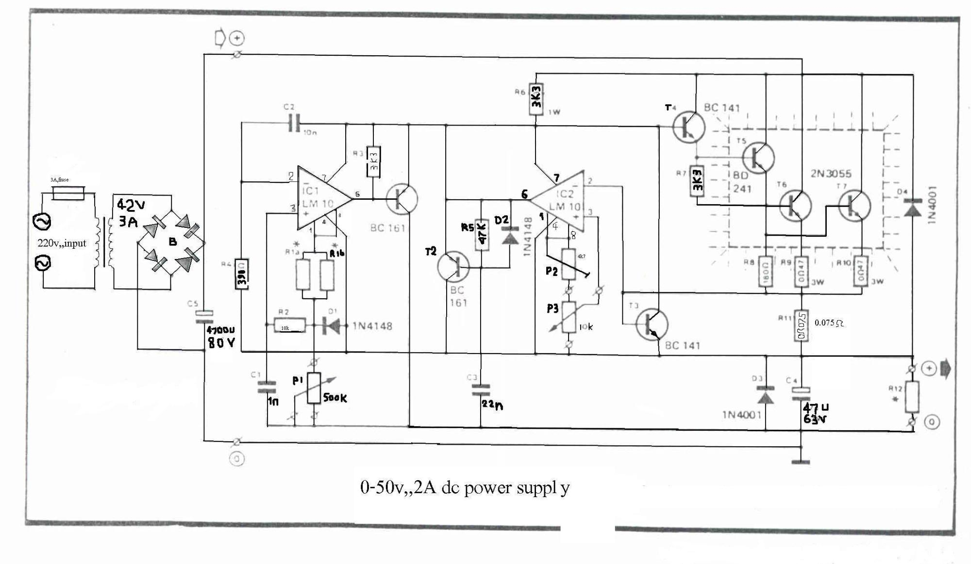 hight resolution of how to build 0 50v 2a bench power supply circuit diagram