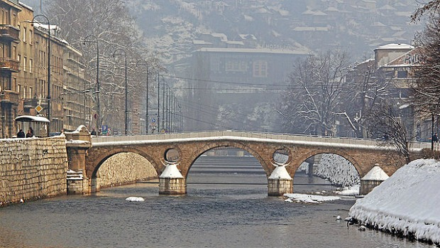 The Latin Bridge over the River Miljacka: the northern end is where  Archduke Franz Ferdinand of Austria was assassinated by Gavrilo Princip in 1914