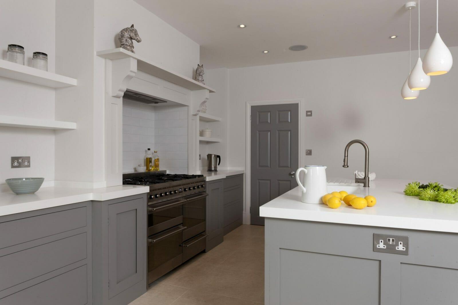 corian kitchen sinks kohler coralais faucet battersea london handleless shaker - higham furniture