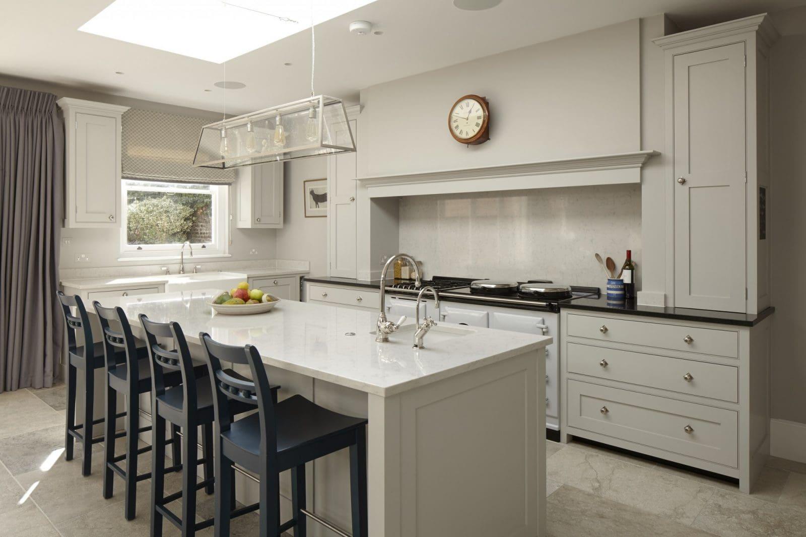 kitchen island with prep sink subway tile wandsworth, london traditional - higham furniture